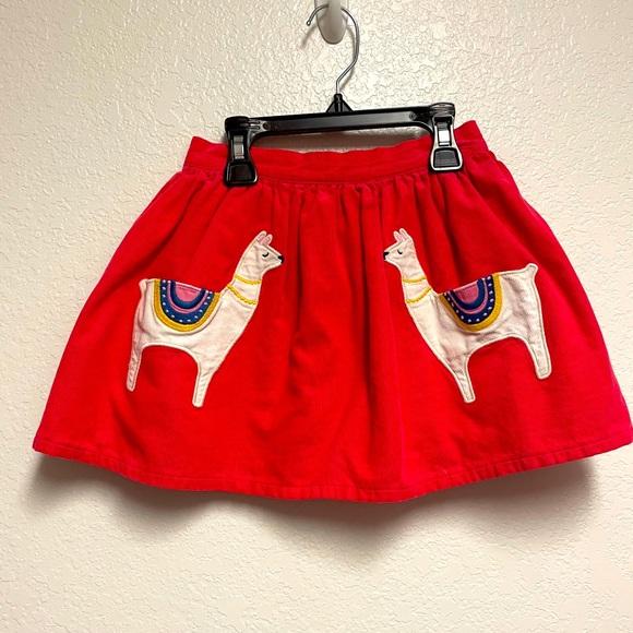 Corduroy skirt with lama appliqué